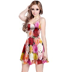 Rose Color Beautiful Flowers Reversible Sleeveless Dress