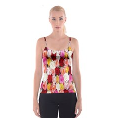 Rose Color Beautiful Flowers Spaghetti Strap Top