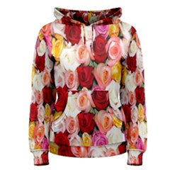 Rose Color Beautiful Flowers Women s Pullover Hoodie