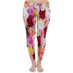 Rose Color Beautiful Flowers Classic Winter Leggings