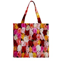 Rose Color Beautiful Flowers Zipper Grocery Tote Bag