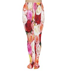 Rose Color Beautiful Flowers Women s Tights