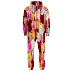 Rose Color Beautiful Flowers Hooded Jumpsuit (men)