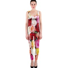 Rose Color Beautiful Flowers Onepiece Catsuit