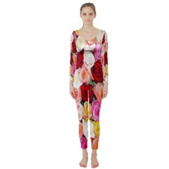 Rose Color Beautiful Flowers Long Sleeve Catsuit