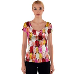 Rose Color Beautiful Flowers Women s V-Neck Cap Sleeve Top
