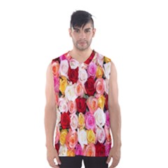 Rose Color Beautiful Flowers Men s Basketball Tank Top