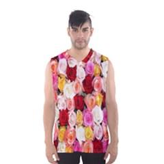 Rose Color Beautiful Flowers Men s Basketball Tank Top