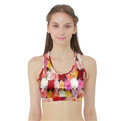 Rose Color Beautiful Flowers Sports Bra With Border