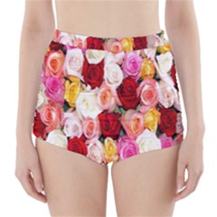 Rose Color Beautiful Flowers High Waisted Bikini Bottoms