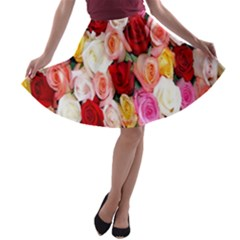 Rose Color Beautiful Flowers A-line Skater Skirt