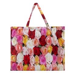 Rose Color Beautiful Flowers Zipper Large Tote Bag