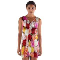 Rose Color Beautiful Flowers Wrap Front Bodycon Dress