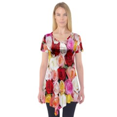 Rose Color Beautiful Flowers Short Sleeve Tunic