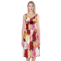 Rose Color Beautiful Flowers Midi Sleeveless Dress