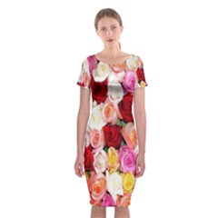 Rose Color Beautiful Flowers Classic Short Sleeve Midi Dress