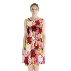 Rose Color Beautiful Flowers Sleeveless Chiffon Waist Tie Dress
