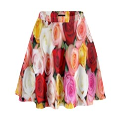 Rose Color Beautiful Flowers High Waist Skirt