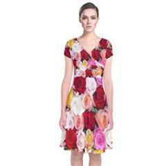 Rose Color Beautiful Flowers Short Sleeve Front Wrap Dress