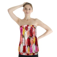 Rose Color Beautiful Flowers Strapless Top