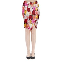 Rose Color Beautiful Flowers Midi Wrap Pencil Skirt