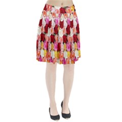 Rose Color Beautiful Flowers Pleated Skirt