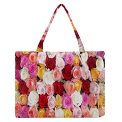 Rose Color Beautiful Flowers Medium Zipper Tote Bag