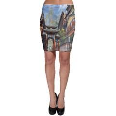 Japanese Art Painting Fantasy Bodycon Skirt