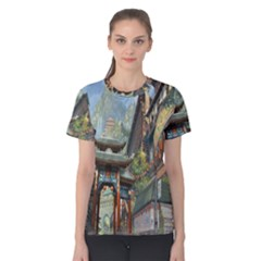 Japanese Art Painting Fantasy Women s Cotton Tee