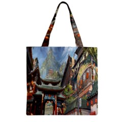Japanese Art Painting Fantasy Zipper Grocery Tote Bag