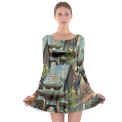Japanese Art Painting Fantasy Long Sleeve Skater Dress