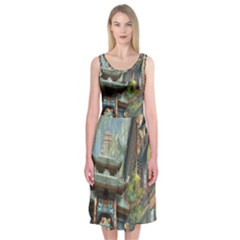 Japanese Art Painting Fantasy Midi Sleeveless Dress