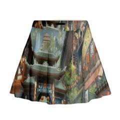 Japanese Art Painting Fantasy Mini Flare Skirt