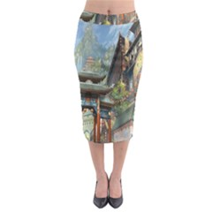 Japanese Art Painting Fantasy Midi Pencil Skirt