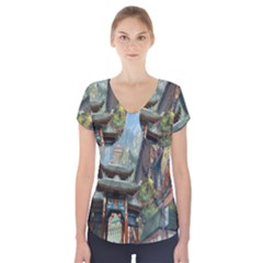 Japanese Art Painting Fantasy Short Sleeve Front Detail Top