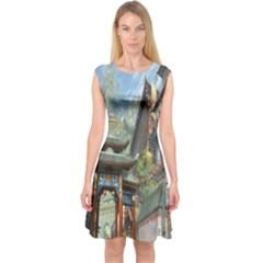 Japanese Art Painting Fantasy Capsleeve Midi Dress