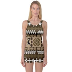 African Vector Patterns One Piece Boyleg Swimsuit