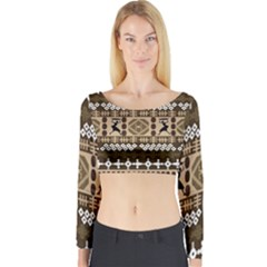 African Vector Patterns Long Sleeve Crop Top