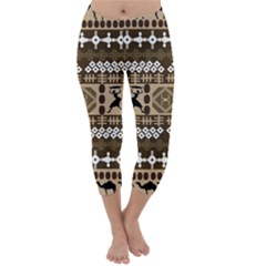 African Vector Patterns Capri Winter Leggings
