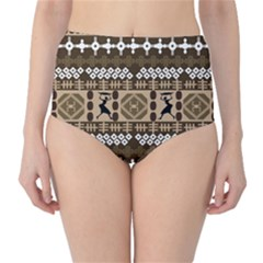 African Vector Patterns High Waist Bikini Bottoms