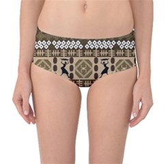African Vector Patterns Mid Waist Bikini Bottoms