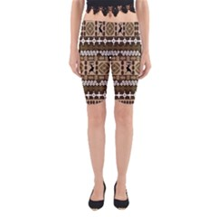 African Vector Patterns Yoga Cropped Leggings