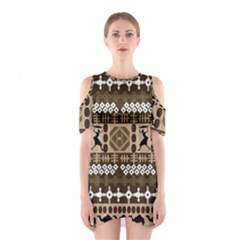African Vector Patterns Shoulder Cutout One Piece