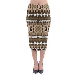 African Vector Patterns Midi Pencil Skirt