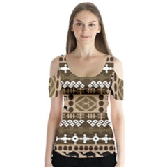 African Vector Patterns Butterfly Sleeve Cutout Tee