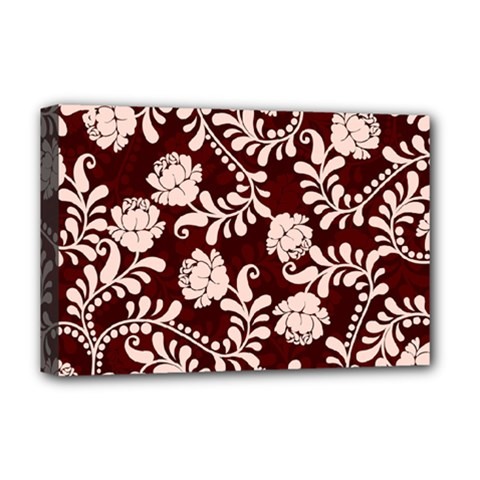 Flower Leaf Pink Brown Floral Deluxe Canvas 18  x 12