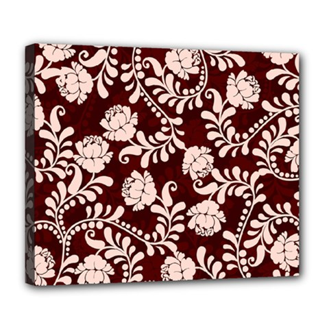 Flower Leaf Pink Brown Floral Deluxe Canvas 24  x 20