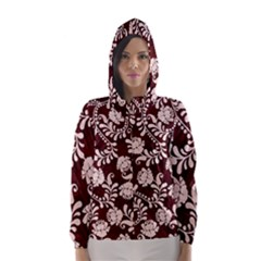 Flower Leaf Pink Brown Floral Hooded Wind Breaker (Women)