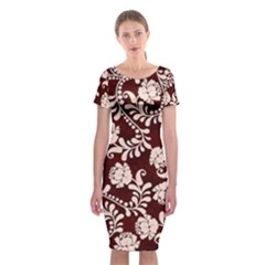 Flower Leaf Pink Brown Floral Classic Short Sleeve Midi Dress