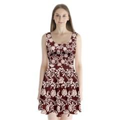 Flower Leaf Pink Brown Floral Split Back Mini Dress